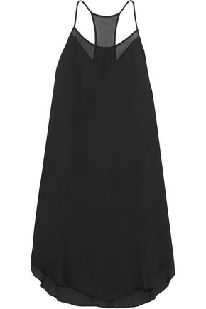 DKNY Chiffon-trimmed satin chemise