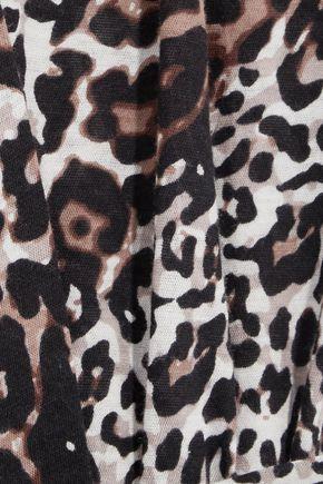 SKIN Leopard-print Pima cotton robe