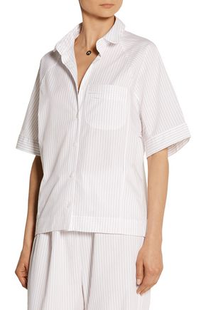 THE SLEEP SHIRT Striped cotton-poplin pajama shirt