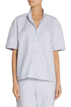 THE SLEEP SHIRT Cropped striped cotton Oxford nightshirt