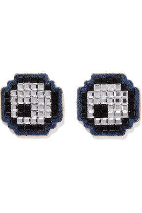 ANYA HINDMARCH Eyes set of two crystal-embellished suede stickers
