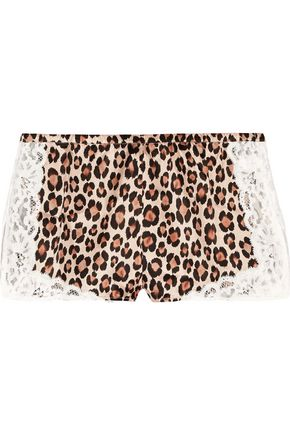FLEUR DU MAL Charlotte lace-trimmed leopard-print silk-satin pajama shorts