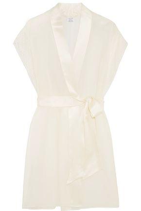 CALVIN KLEIN UNDERWEAR Endless lace-trimmed silk-satin robe
