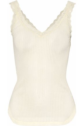 HELMUT LANG Lace-trimmed ribbed cotton tank