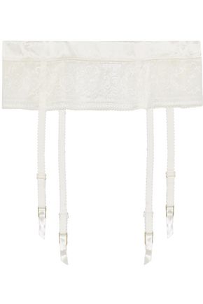 STELLA McCARTNEY Satin-trimmed lace suspender belt