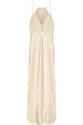 STELLA McCARTNEY Lace-paneled silk-blend satin nightdress