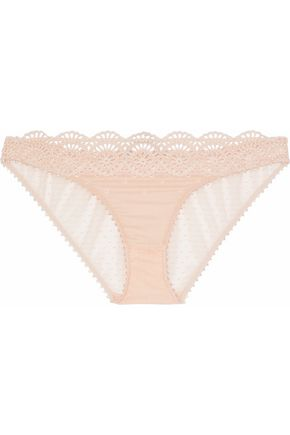 STELLA McCARTNEY Mid-rise broderie anglaise voile and point d'esprit briefs