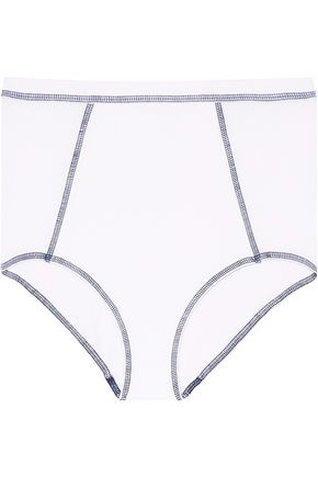 SLEEPY JONES High-rise cotton-blend briefs