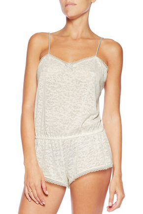 EBERJEY In The Clouds lace-trimmed textured-jersey playsuit