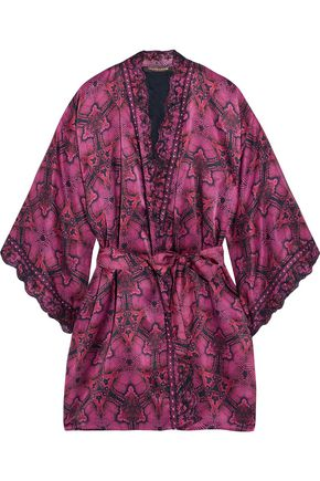 ROBERTO CAVALLI Embroidered printed silk-blend satin robe