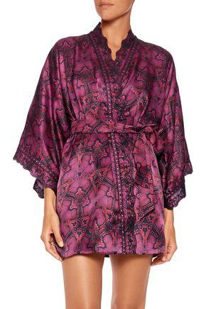 ROBERTO CAVALLI Snake-effect silk-blend robe