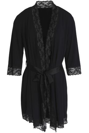 MIMI HOLLIDAY by DAMARIS Lace-paneled jersey robe