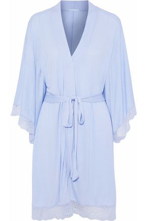 EBERJEY Lace-trimmed jersey robe