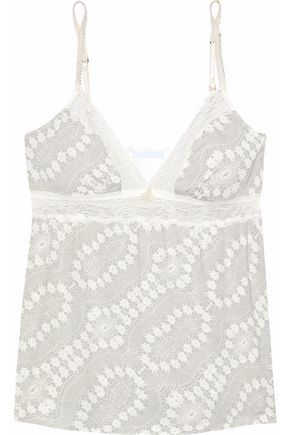 EBERJEY Lace-trimmed printed modal-blend camisole