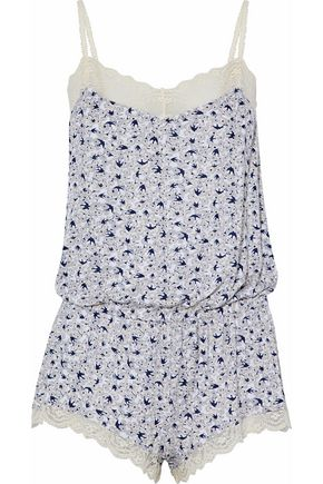 EBERJEY Lace-trimmed printed modal-blend playsuit