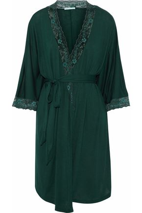 EBERJEY Corded lace-trimmed stretch-jersey robe