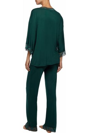 EBERJEY Lace-trimmed jersey pajama top