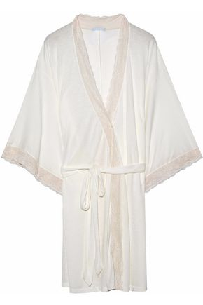 EBERJEY Lace-trimmed stretch-jersey robe
