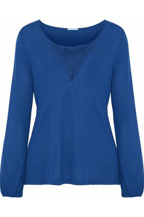 EBERJEY Lace-paneled jersey pajama top