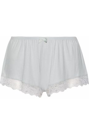 EBERJEY Lace-trimmed ribbed-knit pajama shorts