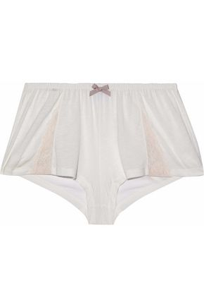 EBERJEY Lace-trimmed stretch-jersey pajama shorts