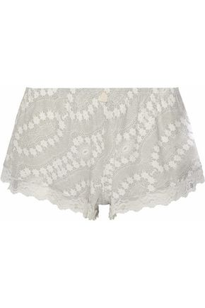 EBERJEY Lace-trimmed printed modal-blend pajama shorts