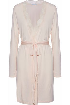 EBERJEY Belted lace-trimmed stretch-jersey robe