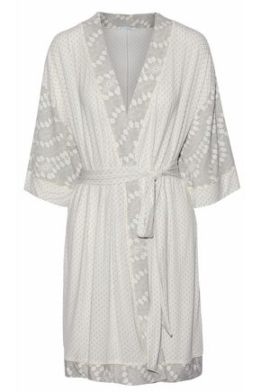EBERJEY Belted printed jersey robe