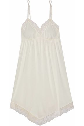EBERJEY Lace-trimmed stretch-jersey chemise