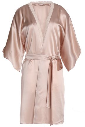 STELLA McCARTNEY Lace-trimmed silk-satin robe