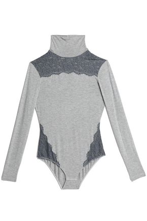 COSABELLA Lace-paneled mélange jersey turtleneck bodysuit