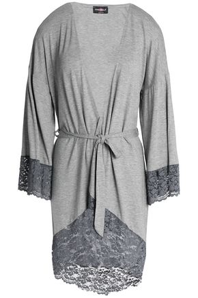 COSABELLA Lace-trimmed mélange jersey robe