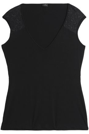 COSABELLA Lace-trimmed jersey pajama top