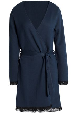 COSABELLA Lace-trimmed stretch-knit robe