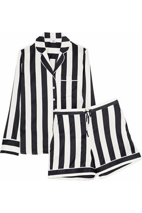 IRIS AND INK Devon striped stretch-silk pajama set