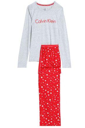 CALVIN KLEIN UNDERWEAR Two-tone printed cotton pajama set