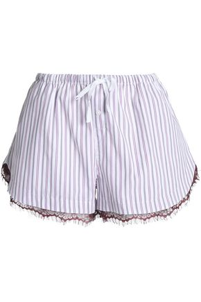SKIN Lace-trimmed striped cotton shorts