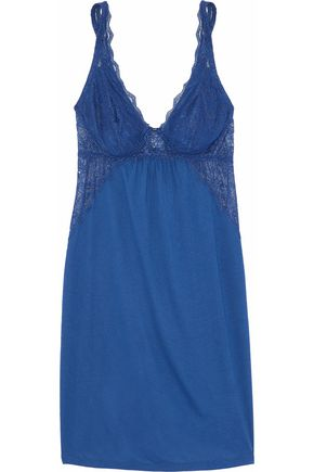 EBERJEY Lace-trimmed jersey chemise