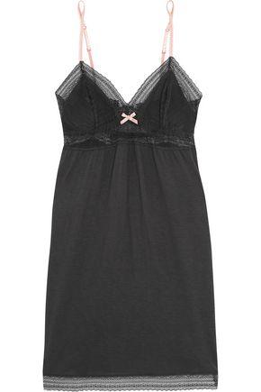EBERJEY Cece lace-paneled stretch-jersey chemise