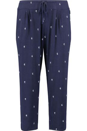 DKNY Capri cropped printed stretch-modal pajama pants