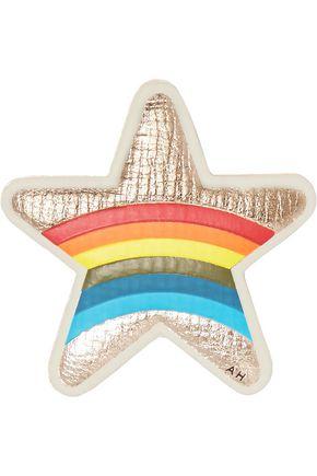 ANYA HINDMARCH Star metallic textured-leather sticker