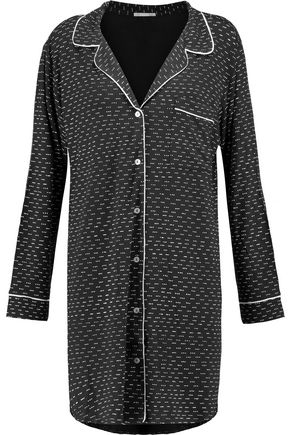 EBERJEY Printed stretch-jersey pajama shirt