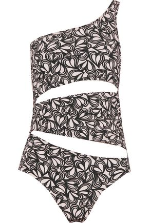 ADIDAS by STELLA McCARTNEY Cutout one-shoulder printed swimsuit
