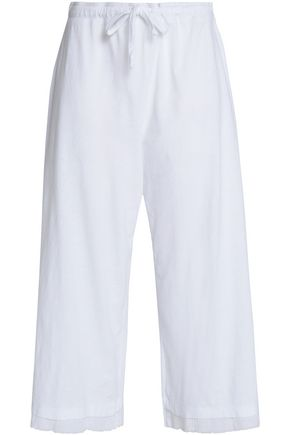 SKIN Cropped cotton gauze wide-leg pants