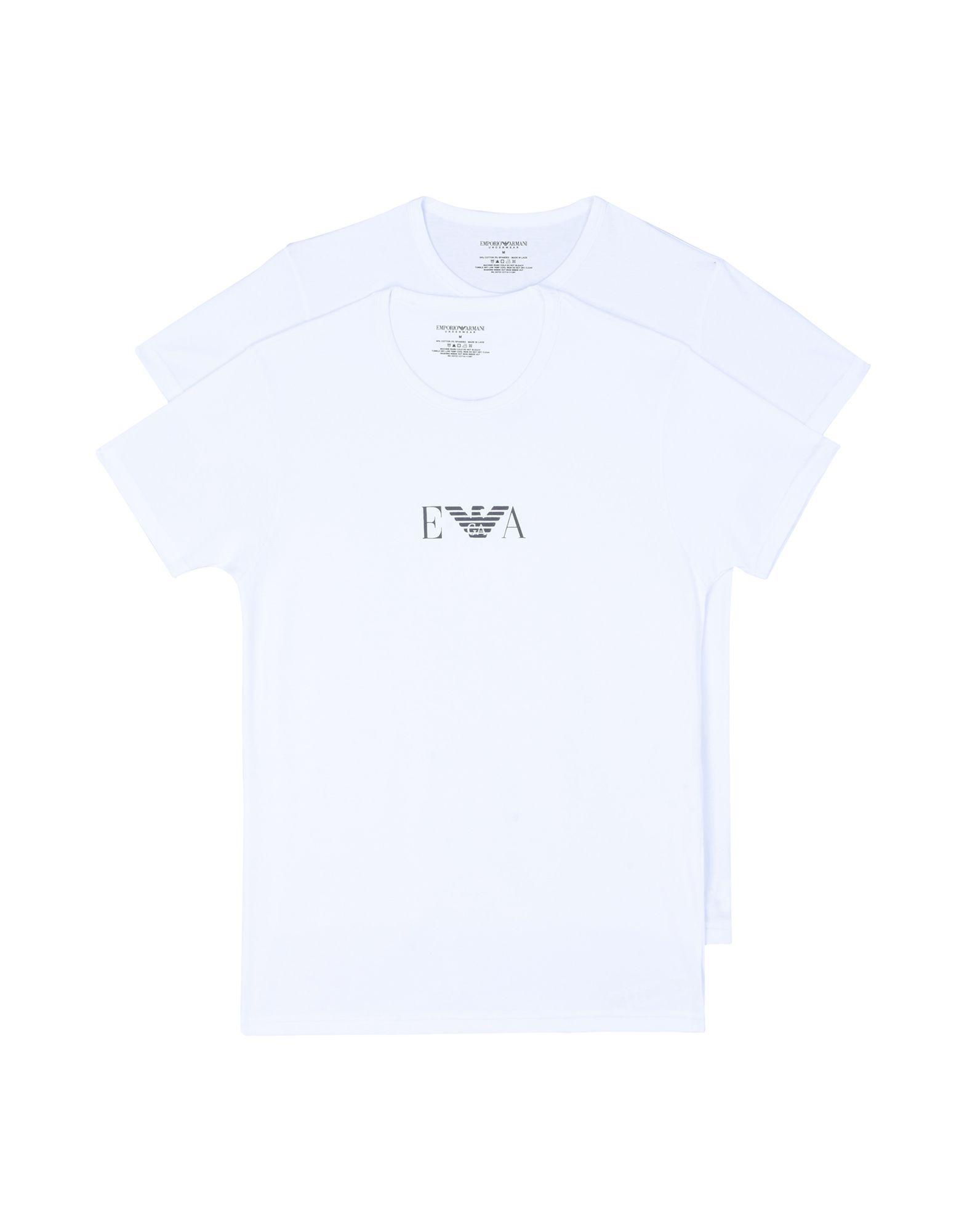 《期間限定セール開催中!》EMPORIO ARMANI メンズ アンダーTシャツ ホワイト S コットン 95% / ポリウレタン 5% MENS KNIT 2PACK T-SH