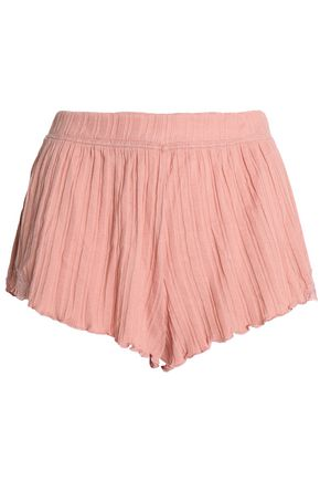 SKIN Pleated knitted pajama shorts