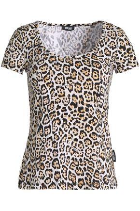 JUST CAVALLI UNDERWEAR Leopard-print stretch-cotton top