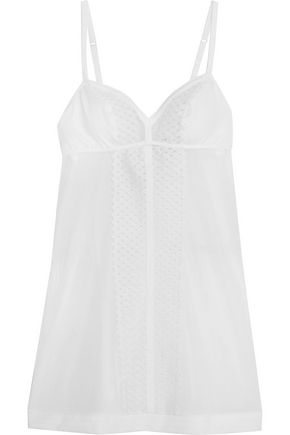 LA PERLA Greta embroidered tulle and jersey-paneled stretch-tulle chemise