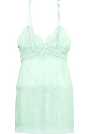 LA PERLA Sophia stretch-tulle and lace chemise