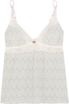 EBERJEY Looking Glass lace-trimmed printed jersey camisole